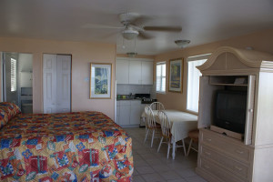 Guest room at Daytona Shores Inn and Suites.