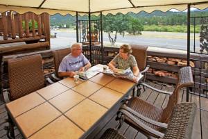 Outdoor patio at Alpine Trail Ridge Inn.