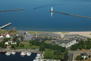 Aerial view of Harbor Lights Resort.
