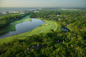 Aerial view of golf course at Omni Amelia Island Plantation.