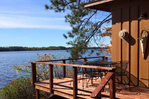 Cabin lake view at Elbow Lake Lodge.