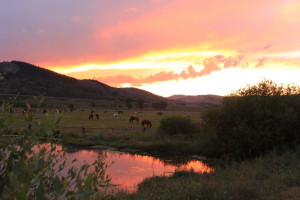 Sunset at Goosewing Ranch.