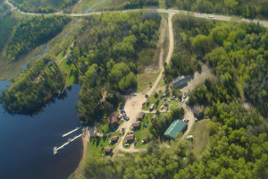 Aerial view of Trails End Resort.
