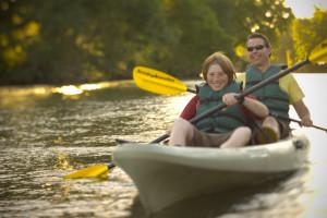 Kayaking at Hyatt Regency Lost Pines Resort and Spa.