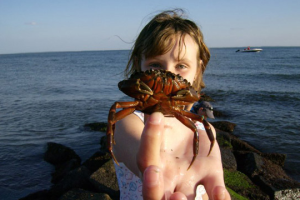 Kid with little crab at Hawk's Nest Beach.