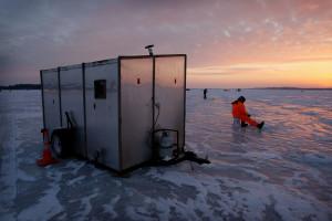 Ice fishing at Zippel Bay Resort.