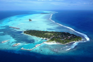 Aerial view of Hudhuranfushi Surf Resort.