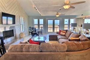 Rental living room at Port Aransas Escapes.