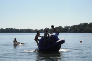 Beach activities at Ten Mile Lake Resort.