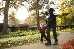 Family on walking path at Ruttger's Bay Lake Lodge.