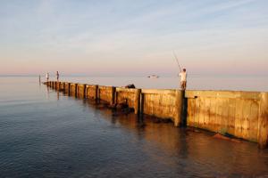 Fishing at Hawk's Nest Beach.