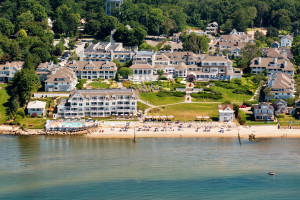 Aerial view of Water's Edge Resort.