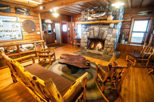 Lodge fireplace at Clearwater Historic Lodge & Canoe Outfitters.
