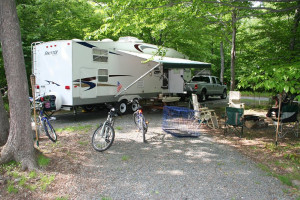 RV campsite at Hemlock Campground & Cottages.