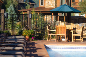 Outdoor pool at The Porches of Steamboat.