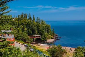 Exterior view of Lutsen Resort on Lake Superior.
