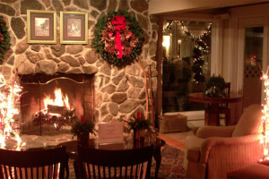 Holiday decor at The Meadowmere Resort.