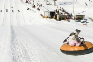 Snow tubing at Fernwood Resort.