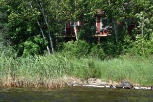 Cabin exterior at Rex Tolton's Miles Bay Camp.
