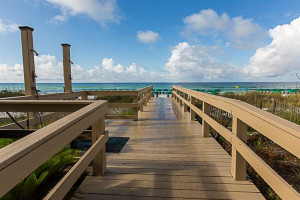 Boardwalk to beach at Sterling Sands Condominiums.