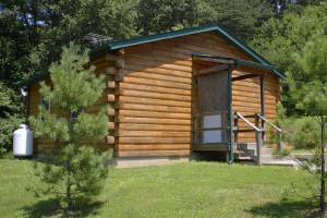 Cabin exterior at Sunrise Log Cabins.