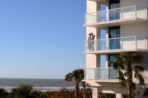 Couple on balcony at Marriott's Crystal Shores.