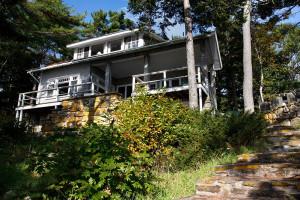 Cabin exterior at Linekin Bay Resort.