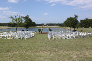 Little Bear Creek Ranch wedding by the pond