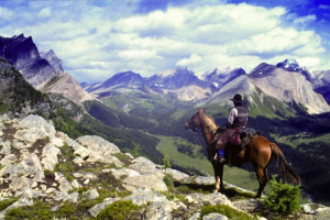 Horseback riding near Delta Banff Royal Canadian Lodge.