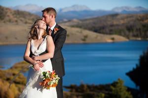 Wedding couple at C Lazy U Ranch.