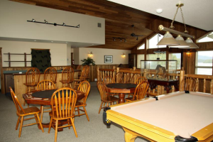 Lounge and dinning room at Shearwater Resort & Marina.