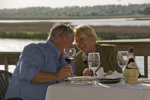 Couple dining at Ocean Isle Inn.