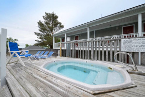 Outdoor hot tub at Bar Harbor Inn & Spa.