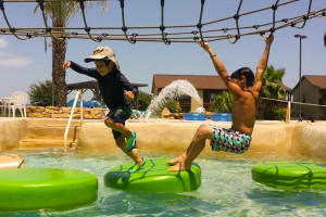 Kids playing at water park at Flying L Guest Ranch.