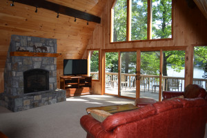 Lake house living room at Ridin-Hy Ranch Resort.