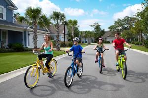 Family biking at North Beach Plantation.