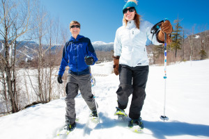 Snow shoeing at Stowe Mountain Lodge.