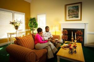 Guest living room at King's Creek Plantation.