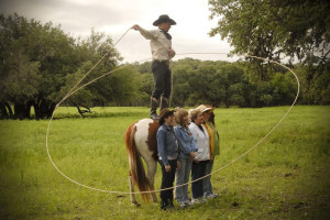 Horse tricks at Flying L Guest Ranch.
