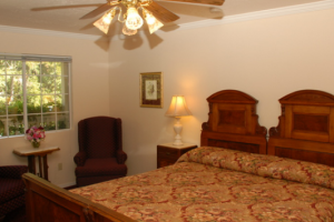 Guest room at Jack London Lodge.