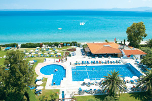 Outdoor pool at Grecotel Pella Beach.