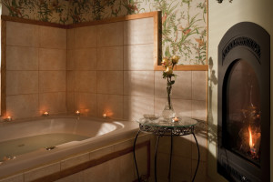 The Paris Suite has a separate Spa Room with a double Jacuzzi tub and its own gas fireplace.