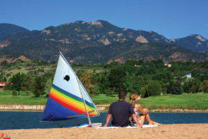Private 35-acre recreation lake with beachfront at Cheyenne Mountain Resort.