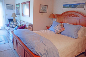 Notch Room at Farm by the River Bed & Breakfast with Stables- queen room, TV/DVD, couch with big picture window with views to the horses, mountains and gardens, private entrance, outside deck, shower bath. Couch fold out  to bed.