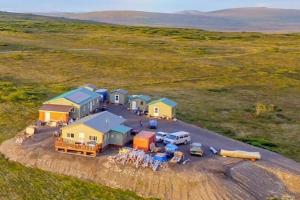 Aerial view of AkAu Alaska Gold & Resort.
