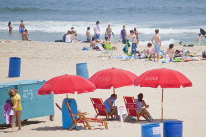 Umbrella rental on the beach at Flagship Oceanfront Hotel Ocean City.