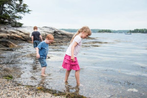 Kids on beach at Linekin Bay Resort.