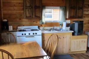 Cabin kitchen at Lac La Belle Lodge.