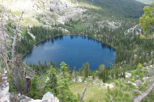 Aerial lake view at Silver Spur Outfitters.