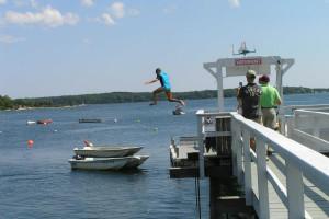 Jumping off the dock at Linekin Bay Resort.